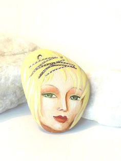 Painted stone pendant original handmade painting on by sabiesabi