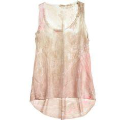 MA+CH MARIKA CHARLES Blair Hand Printed Silk Tank ($250) ❤ liked on Polyvore featuring tops, shirts, tank tops, tanks, blusas, linen cc, pink tank, silk sleeveless shirt, pink shirt and flower shirt