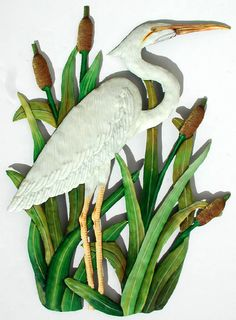Hey, I found this really awesome Etsy listing at https://www.etsy.com/listing/201356558/metal-wall-art-white-egret-hand-painted