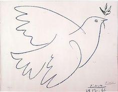 Picasso Dove with olive branch 1961 Pablo Picasso, Picasso Dove, Peace Bird, Peace Dove, Simple Line Drawings, Easy Drawings, Dove Drawing, Bird Drawings, Chalk Art