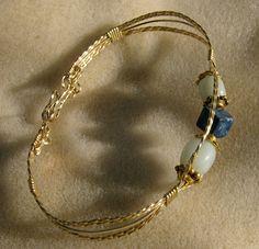Wire Wrapped Bracelet  Lapis Lazuli & Amazonite by JewelryArtistry