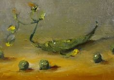 Pea Pod ,Vegetable painting, painting by artist Delilah Smith