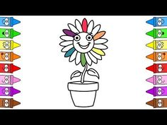 Drawing Flowers For Kids Flower Step By Step, Cosmetic Sets, Drawing For Kids, Coloring For Kids, Girls Accessories, Rainbow Colors, Learning, Drawings, Flowers