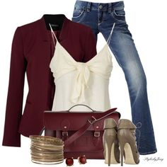Great cool casual date jeans outfit for over 40 or 50. The top is flattering on most figures. I like that it can go from day to night,& isn't too frilly. It'd be a great look for fall or even holidays outfits