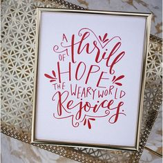 A THRILL OF HOPE  THE WEARY WORLD REJOICES PRINT. Red hand lettering on crisp white card stock.   Christian print. Christmas print. Christmas decor. O Holy Night. Christmas Hymn Print. Wall art. Quote wall art. Wall decor. Christmas wall decor. Calligraphy print. Calligraphy wall decor. Modern calligraphy. Hand lettering. Hand lettered wall art. Hand lettered handmade. Handmade holiday. BEZALEL & BABEL. Boulder, CO.