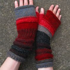Red Lovers Fingerless Unmatched Hand Knit Striped by dwarfs