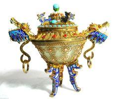 Chinese Dragon Urn Gold Gilt 925 Sterling Silver Filigree Jewels Jade Bowl #SterlingSilverBowl