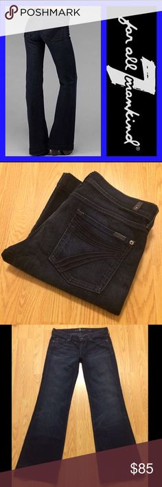 "7 FOR ALL MANKIND: Dojo wide leg flares - size 32 7 for all mankind Dojo wide leg flares in Dark Dakota wash.. 34.5"" inseam, 8.25"" rise and 22"" leg opening.. They measure 17"" across the top of the waist when laying flat.. 98% cotton and 2% spandex.. MINT condition!!!! 7 For All Mankind Jeans Flare & Wide Leg"