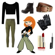 """Kim possible costume"" by emilypetrie ❤ liked on Polyvore featuring Boohoo, 7 For All Mankind, Charlotte Russe, H&M and MAC Cosmetics"