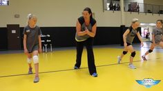 Going over hitting approach steps at every practice is a good way to build muscle memory in young players who are still developing their footwork skills.Here, Cary Wendel Volleyball Drills For Beginners, Volleyball Skills, Volleyball Practice, Volleyball Training, Basketball Workouts, Coaching Volleyball, Basketball Drills, Volleyball Players, Softball