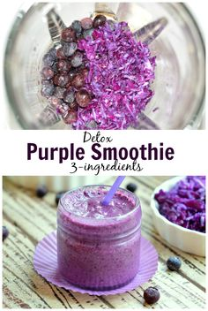 Purple Detox smoothie, 3 ingredients to clean up your body and loose weight. Check out the recipe on the blog & Pin it for later! www.sweetashoney.co