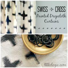 Simple DIY, HUGE impact! Swiss Cross painted Dropcloth Curtains #diy #paintedcurtains