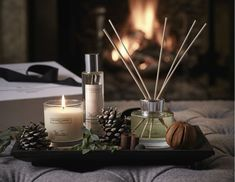 Winter Fragrance Collection, The White Company Christmas 2018 - Fill you home with festive fragrances this Christmas. The inviting aroma of stepping in from the co - The White Company, Coffee Table Styling, Decorating Coffee Tables, Coffee Table Candle Decor, Candle Tray, Candle Diffuser, Luxury Candles, Tray Decor, Winter House