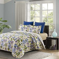 Transform your bedroom into a lovely garden with the Aquarelle Quilt Set. Dressed in a watercolor floral print in shades of lavender, blue, green, and yellow, the beautiful bedding brings timeless elegance to any room's décor.