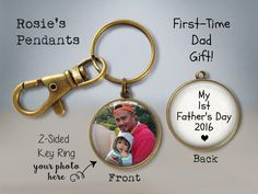First Father's Day Gift - Photo Keychain - First Time Dad - Fathers Day Picture Gift - Personalized Fathers Day Gift - Picture Keychain Fathers Day Pictures, Fathers Day Photo, First Fathers Day Gifts, New Fathers, Picture Keychain, Unique Gifts For Dad, First Time Dad, Picture Gifts, Baby Footprints