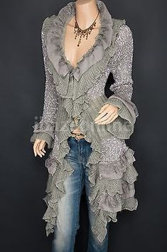 Gorgeous Ruffles Lace Tiered Hem Button Up Cardigan Long Sweater Jacket Source by dingerowski Sweaters Look Fashion, Autumn Fashion, Fashion Outfits, Womens Fashion, Lace Cardigan, Sweater Jacket, Denim And Lace, Long Sweaters, Dress To Impress
