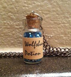 Items similar to Harry Potter Potion Necklace (Wolfsbane) on Etsy Cork Necklace, Harry Potter Potions, Wolfsbane, Etsy