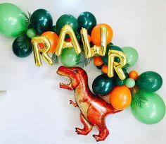 Gold Roar Balloons Dino Balloon Garland Dinosaur party T Third Birthday, 3rd Birthday Parties, Birthday Party Decorations, Party Favors, Party Hats, Diy Dinosaur Party Decorations, Boys 2nd Birthday Party Ideas, Park Birthday, Dinosaur Balloons