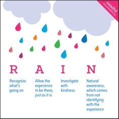"""Next time you're feeling overwhelmed, remember the acronym """"RAIN"""" http://ow.ly/yevSF"""