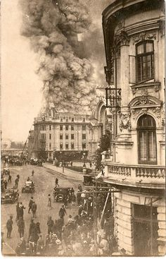 Bucharest in the late , a fire on street Victoria Brasov Romania, Bucharest Romania, Old Pictures, Old Photos, Vintage Photos, Vintage Architecture, Beautiful Architecture, Places Around The World, Around The Worlds
