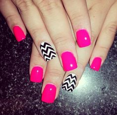 Pink & black/white chevron