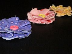 purple, pink & yellow (for sisters) fabric flower button clips