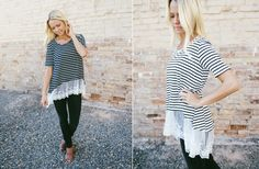 GroopDealz | Striped Top w/ Lace Hem - 3 Colors!
