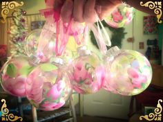 Hand Painted Rose Ornaments