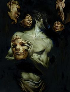 """Stop wearing so many masks. Let others see who you really are so they may in turn love the real you. """"The persona is that which in reality one is not, but which oneself as well as others think one is."""" ~ Carl Jung Art by Mikael Bourgouin Dark Fantasy Art, Dark Art, Arte Horror, Horror Art, Art Macabre, Art Sinistre, Arte Dark Souls, Arte Obscura, Wow Art"""