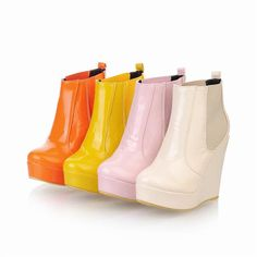 Trendy & Pretty Pure-color Wedge-heeled Short Boots----Orange