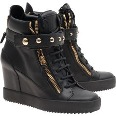 GIUSEPPE ZANOTTI LAMAY LORENZ 75 DONNA BIREL VAGUE NERO // Leather... ($845) ❤ liked on Polyvore featuring shoes, sneakers, black wedge shoes, high top wedge sneakers, black shoes, wedge heel sneakers and black hi top sneakers