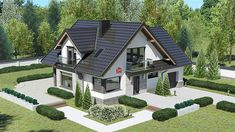 Porch House Plans, House Plans 3 Bedroom, Basement House Plans, Family House Plans, Flat House Design, Bungalow House Design, Minimalist House Design, Classic House Exterior, Dream House Exterior