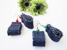 Denim Jewellery Denim Earrings Repurposed by FUNHOUSEshop