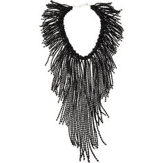Nakamol Black Crystal Fringe Statement Necklace ($116) ❤ liked on Polyvore featuring jewelry, necklaces, black, crystal charms, fringe statement necklace, bead necklace, statement necklace and beads & charms