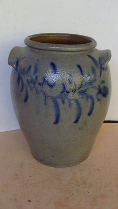 19th C saltglaze stoneware 3 gal. crock w. fantastic cobalt decoration *