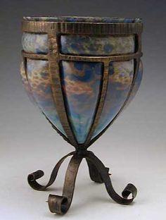 Delatte Art Deco Glass & Wrought Iron Vase
