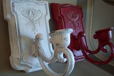 Red and White Candle Holders/ Vintage by UpcycledCottageDecor