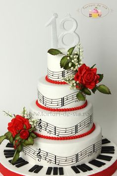 Sound Of Music Cake! A cake that adds rythem to any celebration! Music Themed Cakes, Music Cakes, Gorgeous Cakes, Pretty Cakes, Bolo Musical, Piano Cakes, 18th Birthday Cake, Birthday Parties, Pastry Cake