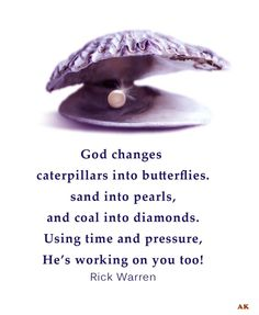 God changes caterpillars into butterflies, sands into pearls, and coal into diamonds. Using time and pressure, He's working on you too. Rick Warren