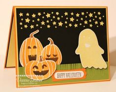 Confetti Stars punched out this fantastic night sky on this spooky handmade Halloween card.  Framelit die cuts created the smiling jack-o-lanterns and happy ghost.
