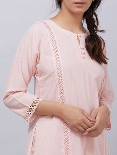 Light Pink Cotton Kurta with Hand Block Printed Palazzo - Set of 2 Neck Designs For Suits, Sleeves Designs For Dresses, Dress Neck Designs, Sleeve Designs, Neckline Designs, Simple Kurti Designs, Stylish Dress Designs, Kurta Designs Women, Stylish Dresses