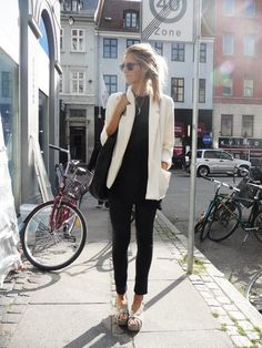 White blazer with black on black! Stylish.. Facebook.com/britpaige.style