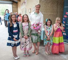 The Countess of Wessex meets local children during a visit to Whetman Pinks, a family business based in Dawlish, Devon, which produces cut flowers, 10 June 2014.