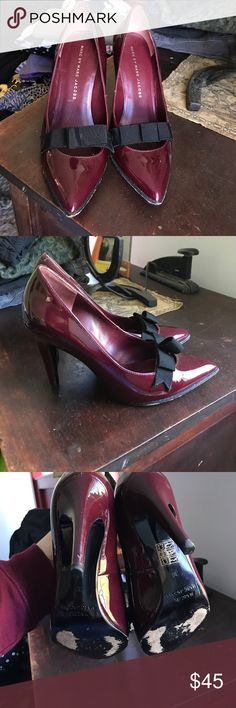 Marc by Marc Jacobs Maroon Pumps with Black bow Patent Leather pumps with bow detail. Lightly worn but in great condition! Marc by Marc Jacobs Shoes Heels