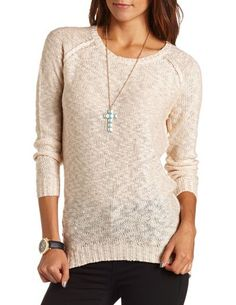 Hi-Low Open Knit Sweater: Charlotte Russe