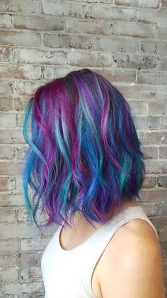 Mermaid hair! Teal pink blue purple hair Bob haircut cut and color by Maura D'arcy IG@MAURADARCY