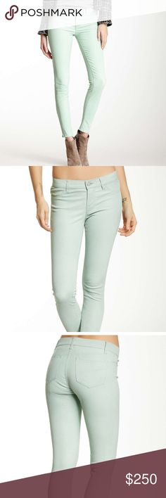 Leather pants Zip fly button closure. 2 front faux pockets. 2 back patch pockets. Side zip hem detail. Genuine leather. Skinny leg. Color mint. J Brand Pants Skinny