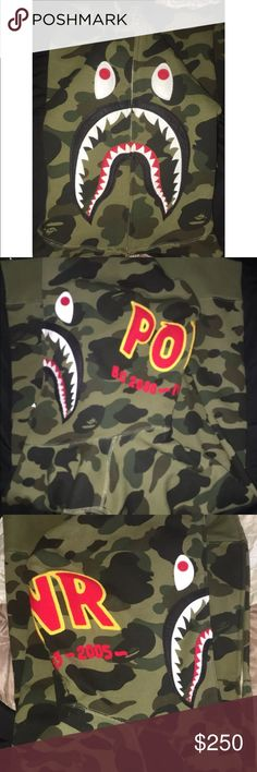 Bale PONR SHARK HOODIE Brand new 2 L 1 XL NEVER BEEN WORN 100% authentic comes with bag contact if interested 225-916-0302 Bape Shirts Sweatshirts & Hoodies