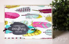 Stampin Up Just Add Color Text Card by Stampin with Liz Design