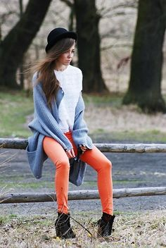 Saturday morning (by Kasia Gorol) http://lookbook.nu/look/1758510-saturday-morning-Zara-Orange-Pants-Bershka-Wedges-Vintage-Sweater-Vintage-Lace-Blouse